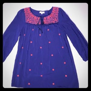 Umgee small blue tunic with pink flowers